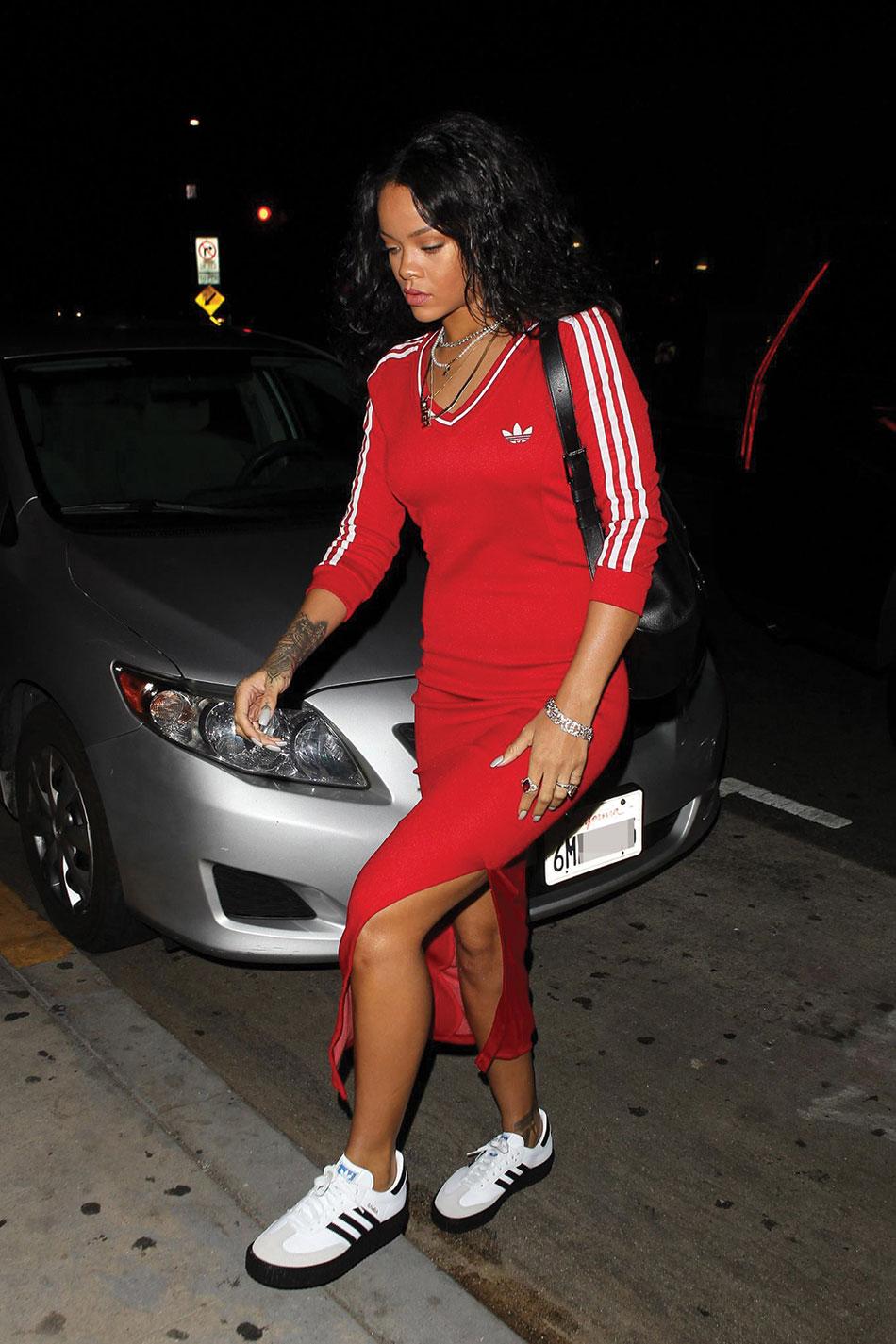 hot-or-hmm-rihanna-giorgio-baldi-jeremy-scott-for-adidas-originals-red-maxi-dress-mr-completely-creepy-adidas-sambas-fbd1-copy