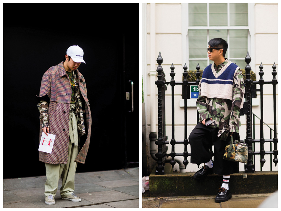Choose camo and deep dark mossy green ― don't be afraid to experiment  with neon colours