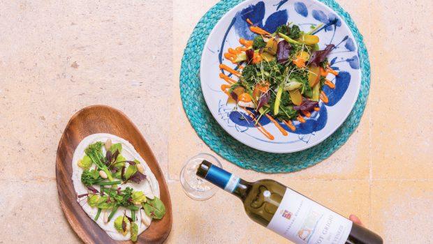 Skordalia with Brassicas & Haricot Vert